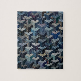 Blue and grey quilt pattern jigsaw puzzle