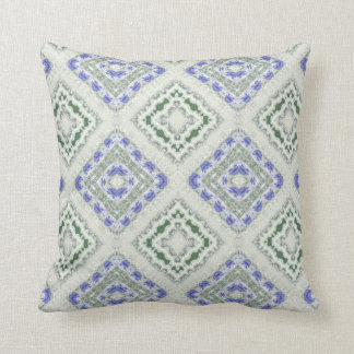 Blue and grey repeating diamonds throw pillow