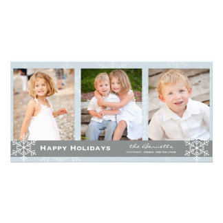 Blue and Grey Snowflake Holiday Card Photo Card