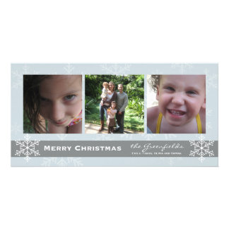 Blue and Grey Snowflake Merry Christmas card Customized Photo Card