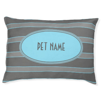 Blue and grey striped Personalized dog bed