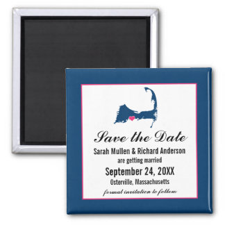 Blue and Hot Pink Cape Cod Map Save the Date Magnet