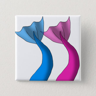 Blue and Hot Pink Mermaid Tails 2 Inch Square Button