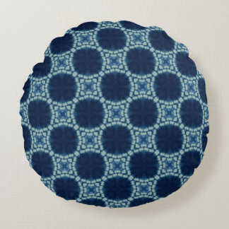 Blue and Indigo Pattern Round Pillow