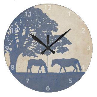 Blue and Ivory Vintage Horse Farm Wedding Large Clock