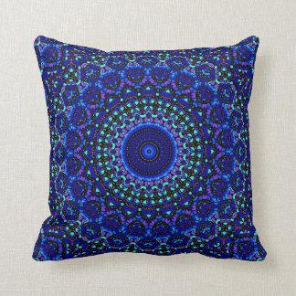 Blue and Jet Black Multi Spots Kaleidoscope Pillow