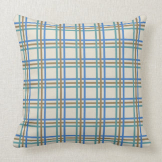 Blue and Khaki Plaid Stripes on Cloud White Throw Pillow