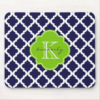 Blue and Lime Green Moroccan Quatrefoil Print Mouse Pad