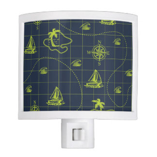 Blue and Lime Green Nautical Map Nite Lights