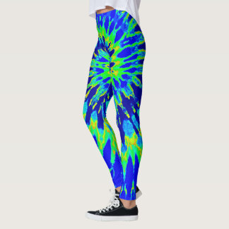 Blue and Lime Green Spiral Tie Dye Leggings