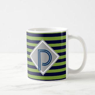 Blue and lime green stripes monogram His Basic White Mug