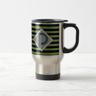Blue and lime green stripes monogram His Mug