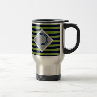 Blue and lime green stripes monogram His Stainless Steel Travel Mug