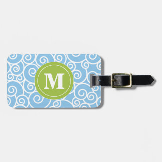 Blue and Lime Green Swirls Monoagram Luggage Tag