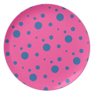 Blue and Magenta Polka Dot Circle Pattern Plate