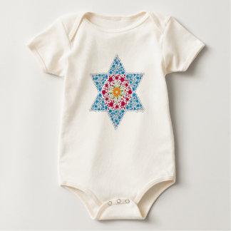 Blue and Magenta Vintage Star of David - Magen Dav Baby Bodysuit