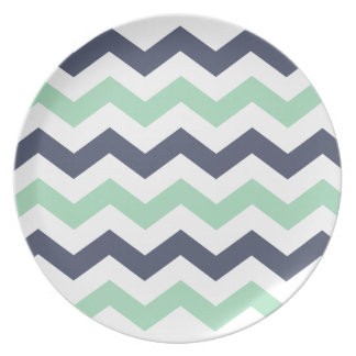 Blue and Mint Zigzag Pattern Dinner Plates
