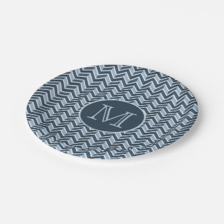 Blue and Navy Blue Chevron Pattern Monogram 7 Inch Paper Plate