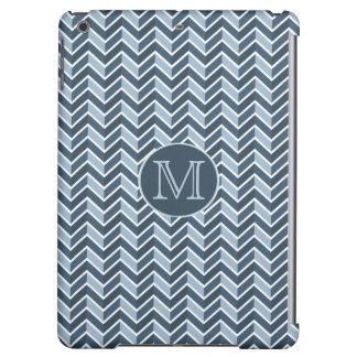 Blue and Navy Blue Chevron Pattern Monogram iPad Air Case