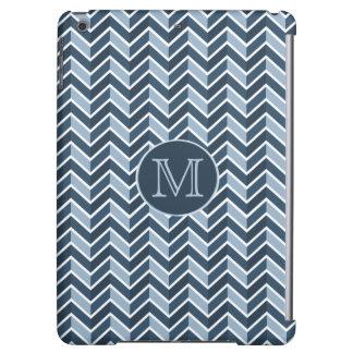 Blue and Navy Blue Chevron Pattern Monogram iPad Air Cases