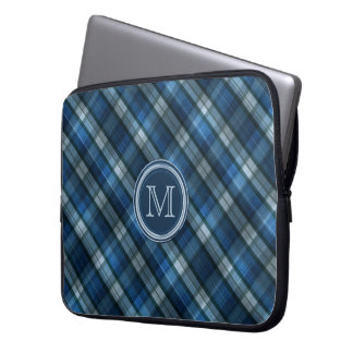 Blue and Navy Blue Chevron Pattern Monogram Laptop Sleeve
