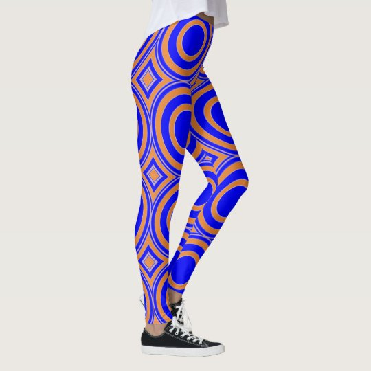 Blue and orange abstract pattern leggings