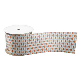 Blue and Orange Argyle Pattern Spool of Ribbon Satin Ribbon