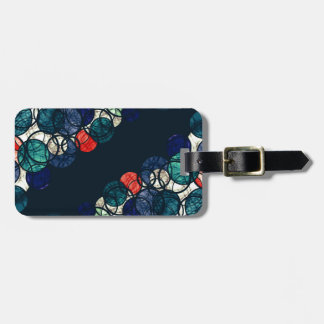 Blue and orange bubbles bag tag