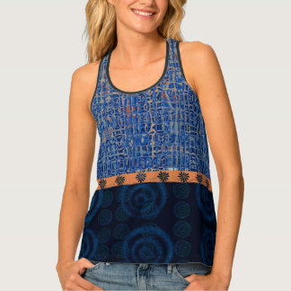 Blue and Orange Busy Abstract Big Spiral Circles Tank Top