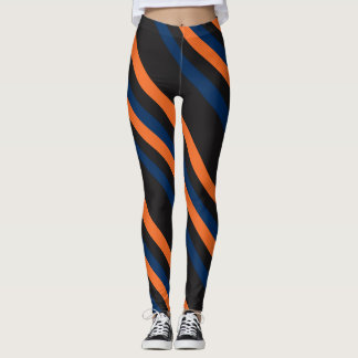 Blue and Orange Diagonal Stripe Leggings