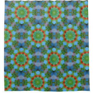 Blue And Orange Floral Kaleidoscope