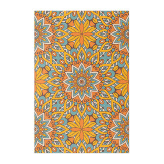 Blue and Orange Floral Mandala Acrylic Wall Art