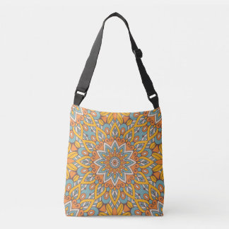 Blue and Orange Floral Mandala Crossbody Bag