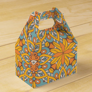 Blue and Orange Floral Mandala Favor Box