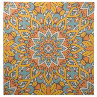 Blue and Orange Floral Mandala Napkin