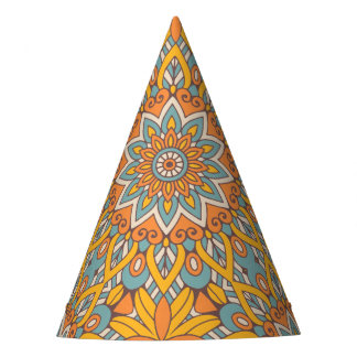 Blue and Orange Floral Mandala Party Hat