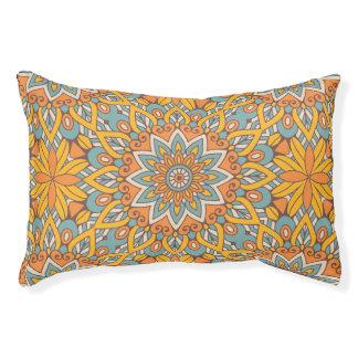 Blue and Orange Floral Mandala Pet Bed
