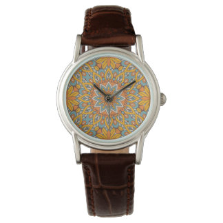 Blue and Orange Floral Mandala Watch