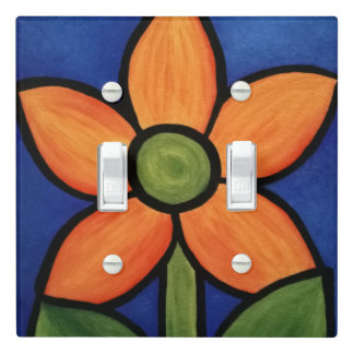 Blue And Orange Flower Light Switch Cover