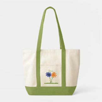 Blue and Orange Flowers, Bride Tote Bag