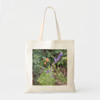 Blue and Orange Flowers Tote Bag