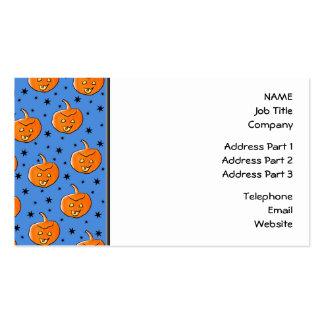 Blue and Orange Halloween Pumpkin Pattern Business Cards