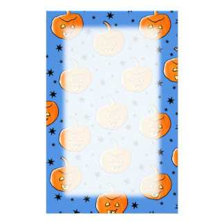 Blue and Orange Halloween Pumpkin Pattern Stationery