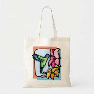 Blue and Orange Hummingbird Tote Bag