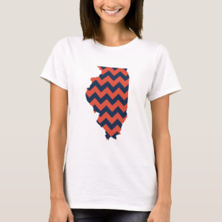 Blue and Orange Illinois Chevron Stripes T-Shirt