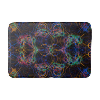 Blue and orange light trails pattern bathroom mat