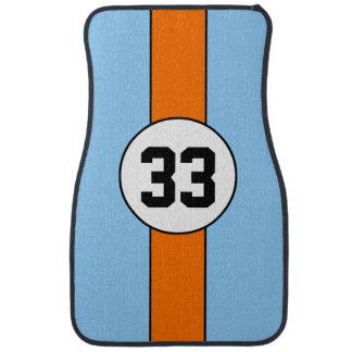 Blue and Orange Livery Racing Stripe car mats