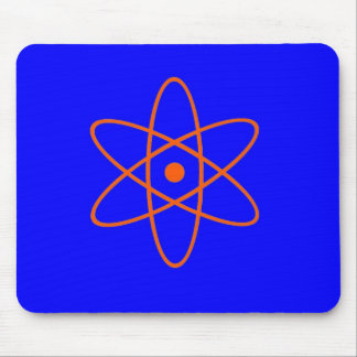 Blue and orange nuclear symbol mouse pad