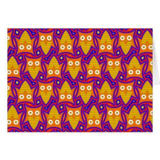 Blue and Orange Owl Pattern Greeting Card