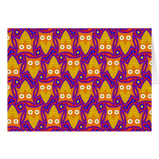Blue and Orange Owl Pattern Greeting Card